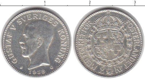 Картинка Монеты Швеция 2 кроны Серебро 1938