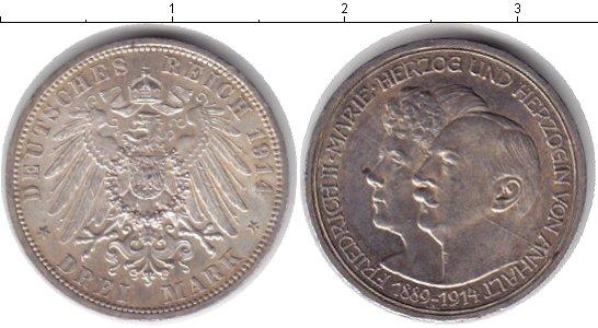 Картинка Монеты Анхальт 3 марки Серебро 1914