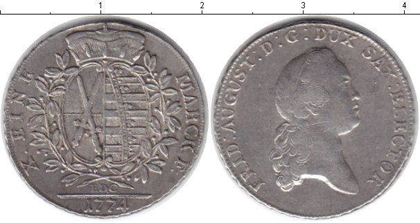 Картинка Монеты Саксония 1 талер Серебро 1774