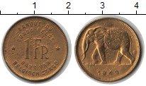 Изображение Монеты Бельгийское Конго 1 франк 1949  VF Слон