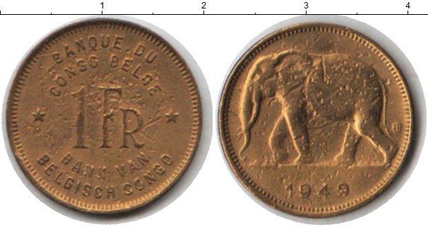Картинка Монеты Бельгийское Конго 1 франк  1949