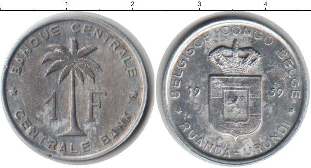 Картинка Монеты Бельгийское Конго 1 франк Алюминий 1959