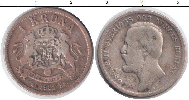 Картинка Монеты Швеция 1 крона Серебро 1901