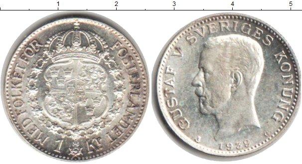 Картинка Монеты Швеция 1 крона Серебро 1939