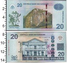 Изображение Боны Суринам 20 долларов 0  UNC- Гора. Дом