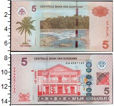 Изображение Боны Суринам 5 долларов 0  UNC- Река. Дом