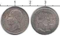 Изображение Монеты Бельгия 5 франков 1853 Серебро XF Бракосочетание. Issu