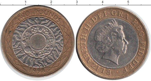 Картинка Монеты Великобритания 2 фунта Биметалл 1998