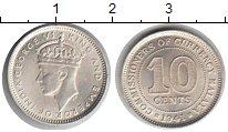 Изображение Мелочь Малайя 10 центов 1941 Серебро UNC-