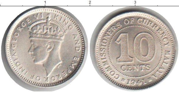 Картинка Монеты Малайя 10 центов Серебро 1941