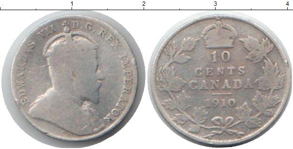Картинка Монеты Канада 10 центов Серебро 1910