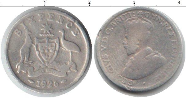 Картинка Монеты Австралия 6 пенсов Серебро 1926