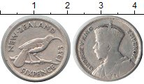 Изображение Монеты Новая Зеландия 6 пенсов 1933 Серебро VF Георг V. Птица