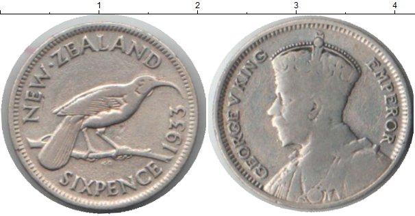 Картинка Монеты Новая Зеландия 6 пенсов Серебро 1933