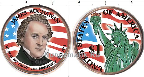 Картинка Цветные монеты США 1 доллар Медно-никель 2010