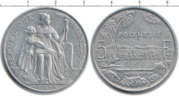 Картинка Монеты Полинезия 5 франков Алюминий 1993
