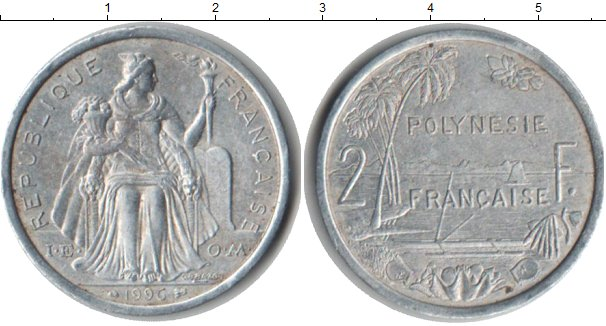 Картинка Монеты Полинезия 2 франка Алюминий 1996
