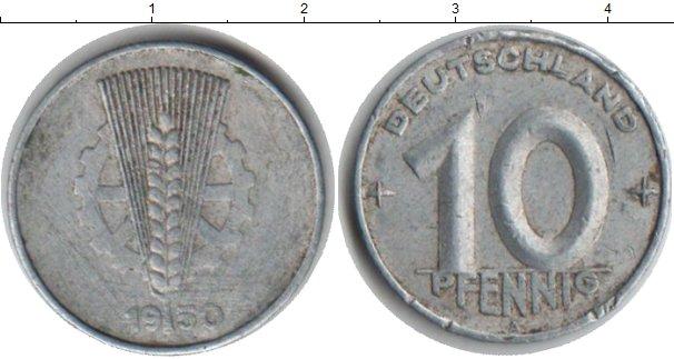 Картинка Монеты ГДР 10 пфеннигов Алюминий 1950