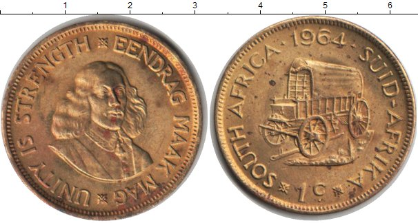 Картинка Монеты ЮАР 1 цент  1964