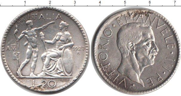 Картинка Монеты Италия 20 лир Серебро 1927