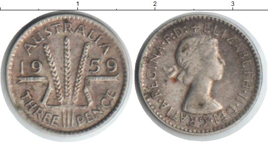 Картинка Монеты Австралия 3 пенса Серебро 1959