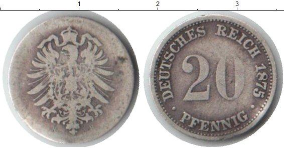 Картинка Монеты Германия 20 пфеннигов Серебро 1875