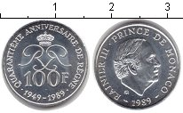 Изображение Монеты Монако 100 франков 1989 Серебро UNC- Райнер III. 40 лет п