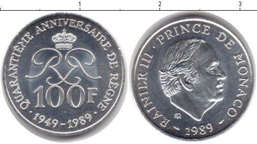 Картинка Монеты Монако 100 франков Серебро 1989