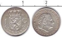 Изображение Монеты Нидерланды 1 гульден 1957 Серебро XF Юлиана