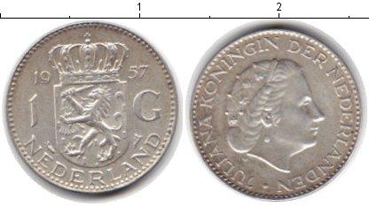 Картинка Монеты Нидерланды 1 гульден Серебро 1957