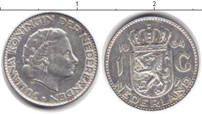 Картинка Монеты Нидерланды 1 гульден Серебро 1964