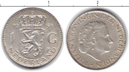Картинка Монеты Нидерланды 1 гульден Серебро 1958