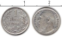 Изображение Монеты Бельгия 1 франк 1904 Серебро XF