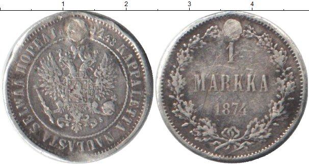 Картинка Монеты Финляндия 1 марка Серебро 1874