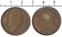 Изображение Монеты Монако 50 франков 1950  XF Райнер III. Рыцарь