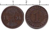 Изображение Монеты Веймарская республика 1 пфенниг 1936 Медь XF