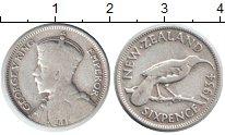 Изображение Монеты Новая Зеландия 6 пенсов 1934 Серебро VF Георг V. Птица