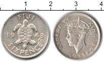 Изображение Монеты Фиджи 6 пенсов 1943 Серебро XF