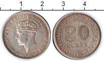 Изображение Монеты Малайя 20 центов 1939 Серебро XF Георг VI