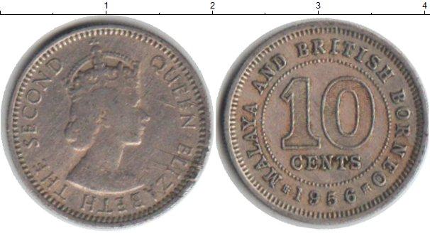Картинка Монеты Малайя 10 центов Медно-никель 1956