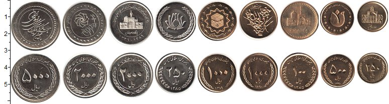 Изображение Наборы монет Иран Иран 1385-1404 0  UNC- В наборе 9 монет ном