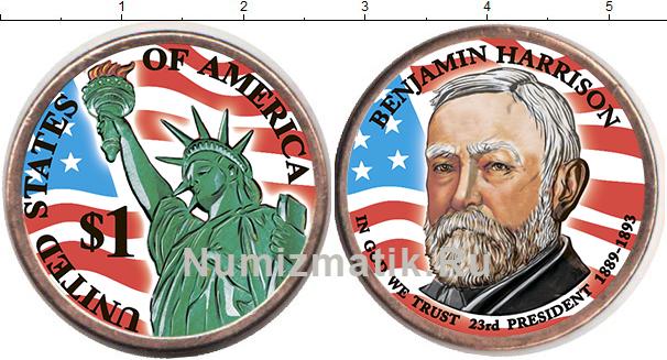 Картинка Цветные монеты США 1 доллар  2012