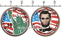 Изображение Цветные монеты США 1 доллар 2010  UNC- 16-й президент США.
