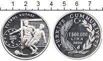 Изображение Монеты Турция 7.500.000 лир 2000 Серебро Proof- Футбол. Евро 2000