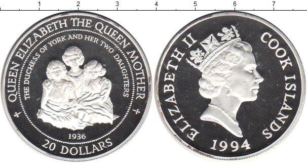 Картинка Монеты Острова Кука 20 долларов Серебро 1994