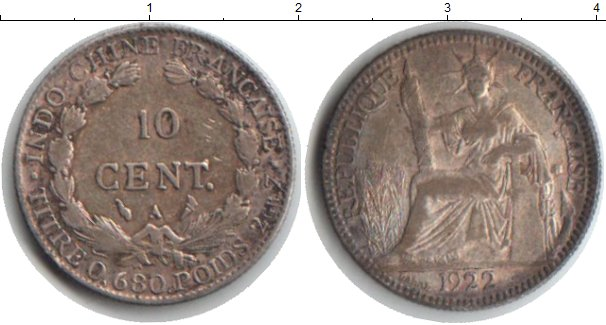 Картинка Монеты Индокитай 10 центов Серебро 1922