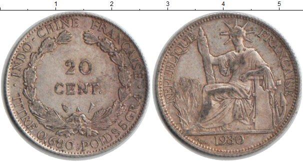 Картинка Монеты Индокитай 20 центов Серебро 1930