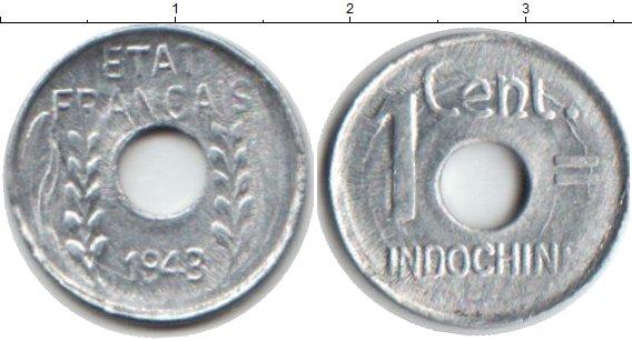 Картинка Монеты Индокитай 1 сантим Алюминий 1943