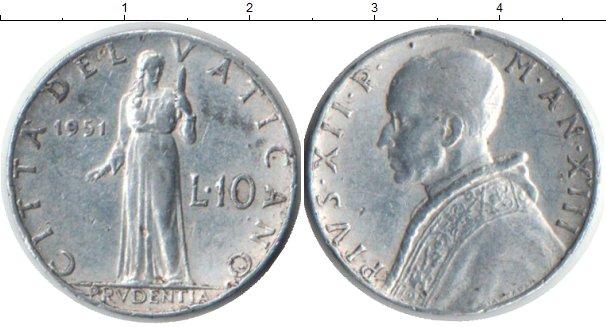 Картинка Монеты Ватикан 10 лир Алюминий 1951