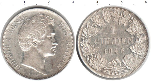 Картинка Монеты Бавария 1 гульден Серебро 1846